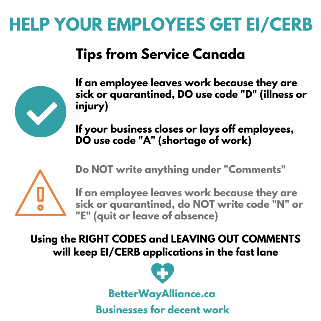 Help employees get EI/CERB - infographic